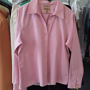 Pink, collared blouse.